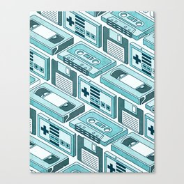 90's pattern-blue Canvas Print