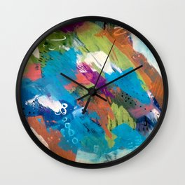 Emma - colorful acrylic and ink abstract pattern with blue, orange, purple and pink Wall Clock