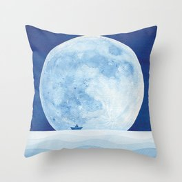 Full moon & paper boat Throw Pillow