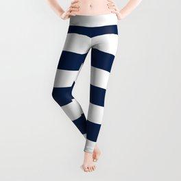Slate Blue and White Stripes  - Navy Nautical Pattern Leggings
