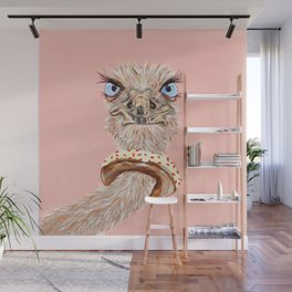 Ostrich with Donut, Saved by the Donut Wall Mural