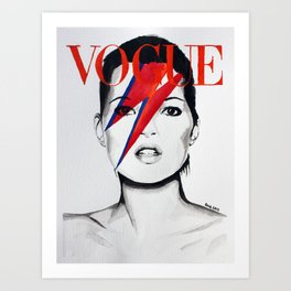 Vogue Magazine Cover. Kate Moss as David Bowie. Fashion Illustration. Art Print