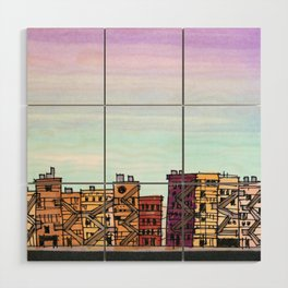 New York Purple Sky Wood Wall Art