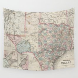 Vintage Map of Texas (1870) Wall Tapestry