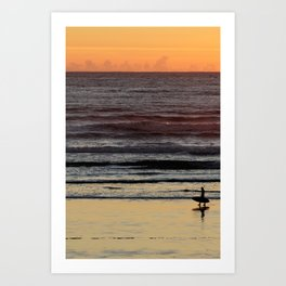Tofino Surfer Sunset Art Print