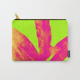 Green and Ultra Bright Coral Fern Carry-All Pouch
