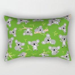 Koala Cute Kids Blue Koalas Animal Pattern Green Rectangular Pillow