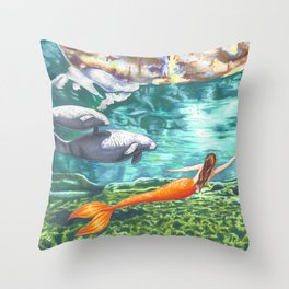 Swimming with Manatees Throw Pillow