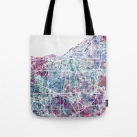 cleveland Tote Bags featuring Cleveland map by MapMapMaps.Watercolors