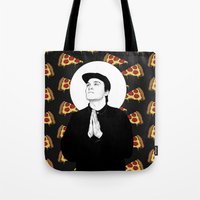 ben giles Tote Bags featuring BEN. by paintparamore