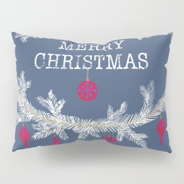 Merry christmas and happy new year greeting card wreath background Pillow Sham
