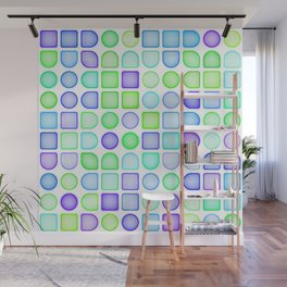 Lime Green Turquoise Blue Violet Purple Retro Squares Dots Pattern Wall Mural