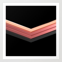 shiny pink rose gold and black leather chevrons home decor design Art Print