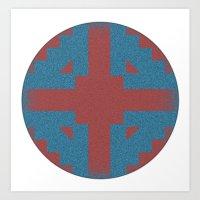 Blue & Red Noises Art Print