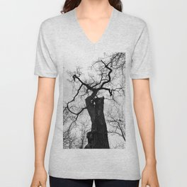 Cottonwood Tree B+W Unisex V-Neck