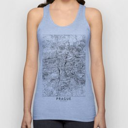 Prague White Map Unisex Tank Top
