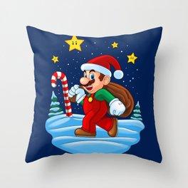 Xmas Mario Throw Pillow