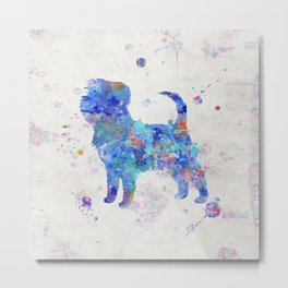 Affenpinscher Dog Watercolor Blue Colorful Abstract Metal Print