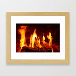 Wood burning in a fireplace Framed Art Print