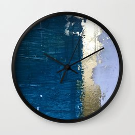 Rain [1]: a minimal, abstract mixed-media piece in blues, white, and gold by Alyssa Hamilton Art Wall Clock