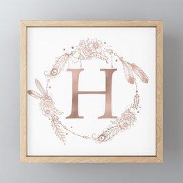 Letter H Rose Gold Pink Initial Monogram Framed Mini Art Print