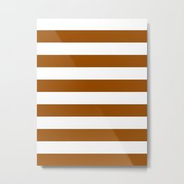Horizontal Stripes - White and Brown Metal Print