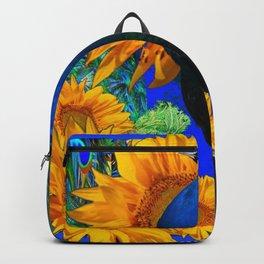 #2 BLUE PEACOCK &  SUNFLOWERS BLUE MODERN ART Backpack