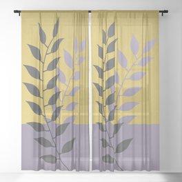 Simply Botanical Gold Grey Lilac Purple Sheer Curtain