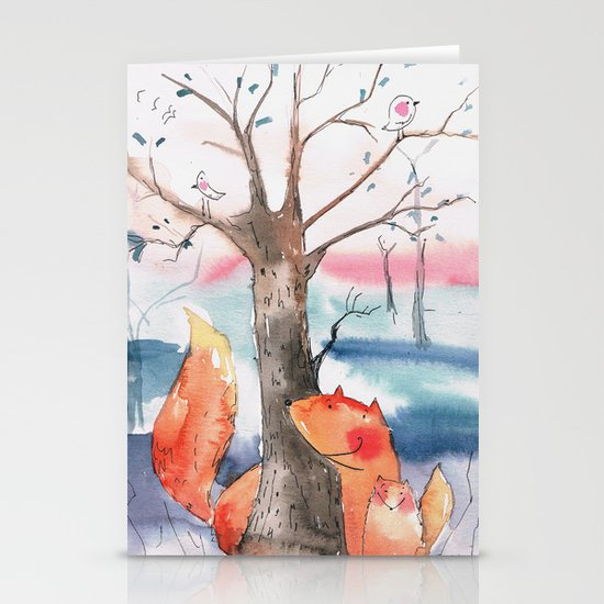 Spring foxes Stationery Cards