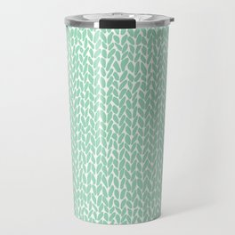 Hand Knit Mint Travel Mug