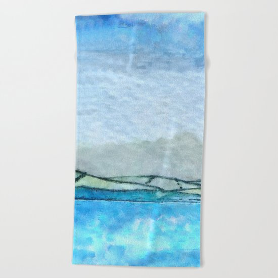 Landscape with fog and blue Beach Towel