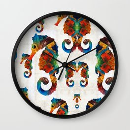 Colorful Seahorse Collage Art by Sharon Cummings Wall Clock