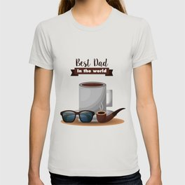 Best Dad in the World Coffee Glasses Pipe T-shirt