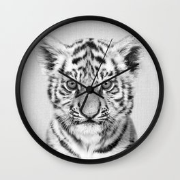 Baby Tiger - Black & White Wall Clock