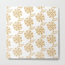 Golden floral on white 2/5 Metal Print