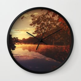 Early morningsun- Forest Sun Lake Trees Wall Clock