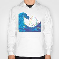 hokusai Hoodies featuring Hokusai Rainbow & rotating dolphins_D by FACTORIE