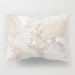 "The world is yours to explore, rustic world map with cities, ""Lucille"" Pillow Sham"