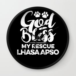 God Bless My Rescue Lhasa Apso Paw Print for Dog Walker Gift Wall Clock