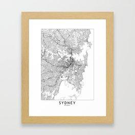 Sydney White Map Framed Art Print