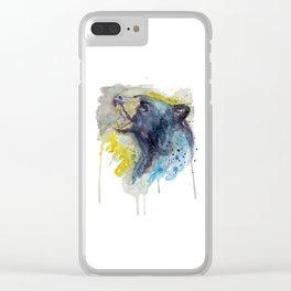 Black Bear Head Clear iPhone Case