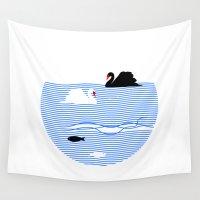black swan Wall Tapestries featuring Black Swan White Swan by Studio Su