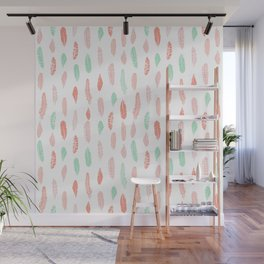 Feather mint pink and white minimal feathers pattern nursery gender neutral boho decor Wall Mural