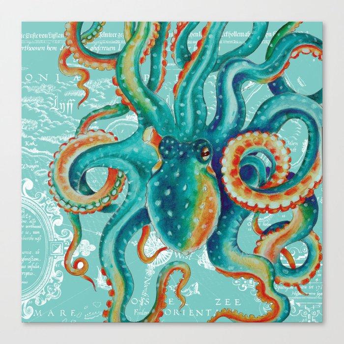 Teal Octopus On Light Teal Vintage Map Leinwanddruck