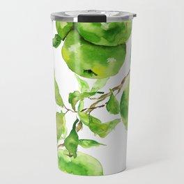 green apple watercolor Travel Mug