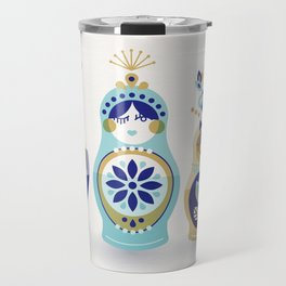 Russian Nesting Dolls – Blue & Gold Travel Mug