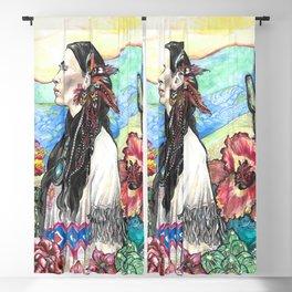 Desert Rose - Native American Woman Blackout Curtain