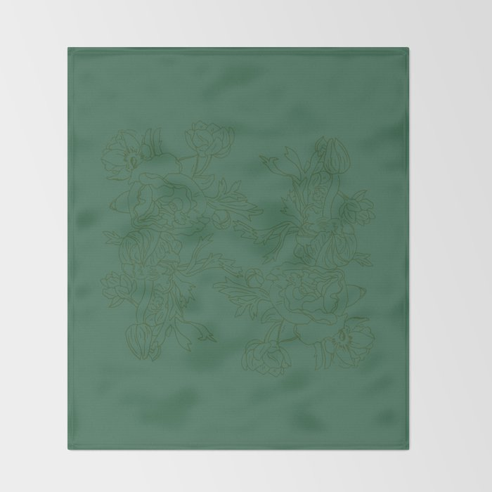 Floral Ink - Emerald & Olive Ranunculus Throw Blanket