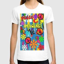 Retro Peace Symbols and Retro Flowers T-shirt