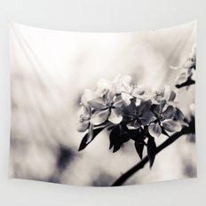 Black and White Flowers Wall Tapestry
